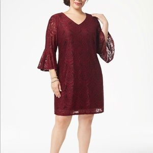 Connected Apparel Bell Sleeve Lace Dress CA86